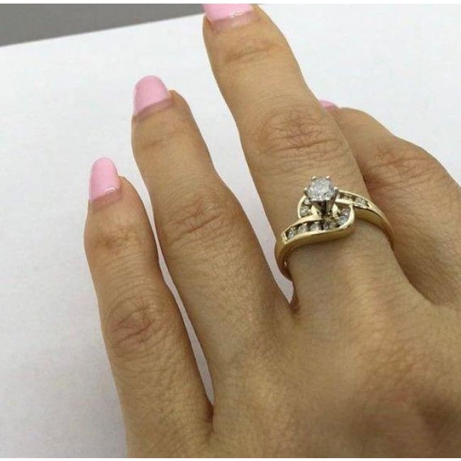 1/2 Carat Engagement Ring 14K Yellow Gold 0 51 ctw Halo Style 6 Prong High  Setting by Luxinelle® Jewelry
