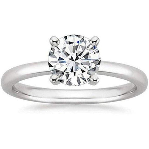 Image of 1/2 Carat Gia Certified Diamond Engagement Ring 0.44 Ct Vs2 I 4 Prong 14K White Gold By Luxinelle® Jewelry - Ring
