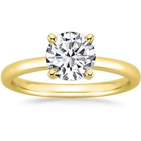 Image of 1/2 Carat Gia Certified Diamond Engagement Ring 0.44 Ct Vs2 I 4 Prong 14K Yellow Gold By Luxinelle® Jewelry - Ring