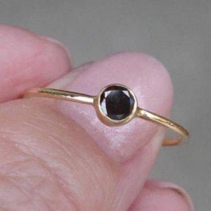 1/5 Carat Brown-Black Diamond Stacking Ring Bezel Setting In 14K Yellow Gold By Luxinelle® Jewelry - Ring