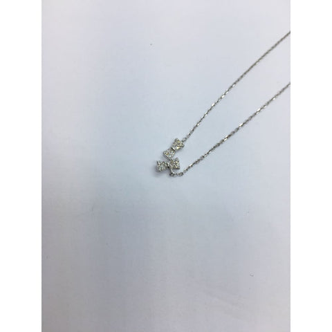 Image of 16 Diamond Bow Necklace - 14K White Yellow Or Rose Gold 0.12 Ct By Luxinelle® Jewelry - Necklace