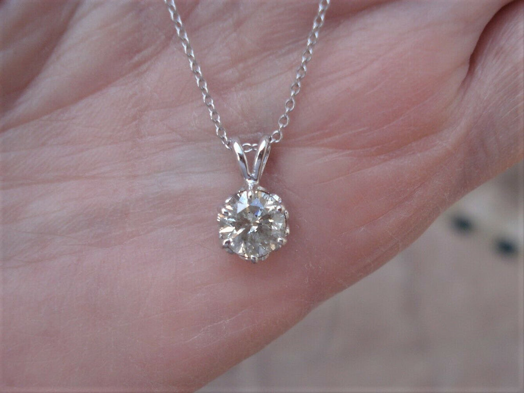 1 Carat Diamond Solitaire in 6 Prong Setting 14k White Gold Necklace