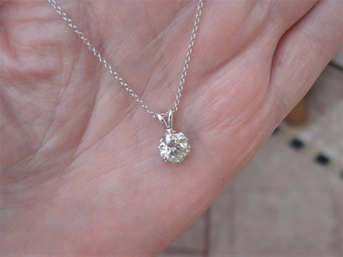 Image of 1 Carat Diamond Solitaire in 6 Prong Setting 14k White Gold Necklace