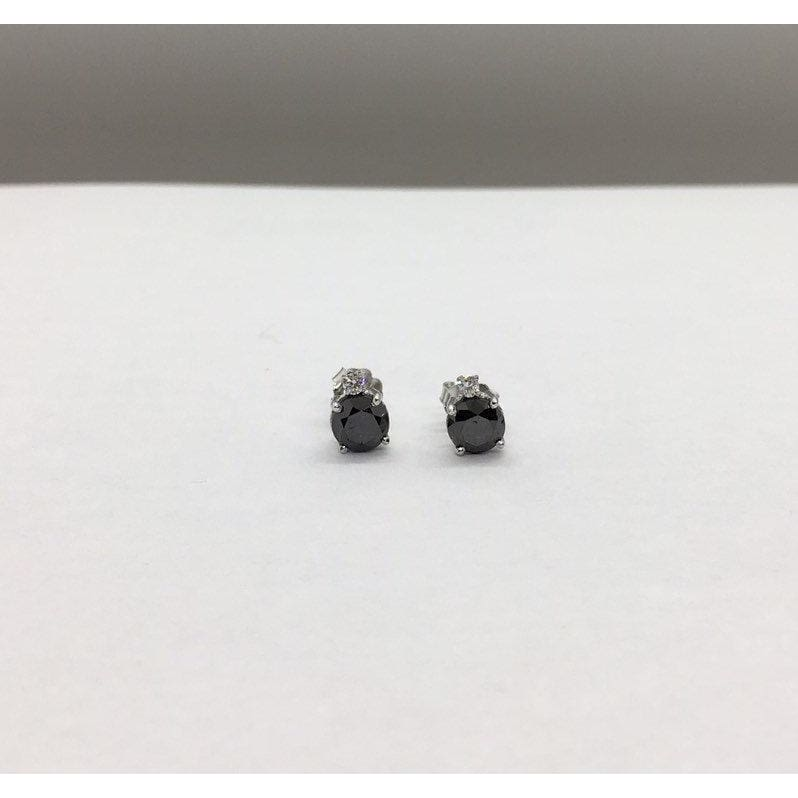 2.17 Carat Black Diamond Stud Earrings - White Diamond Accent 14K White Gold