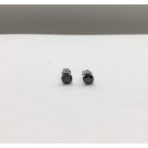 Image of 2.17 Carat Black Diamond Stud Earrings - White Diamond Accent 14K White Gold