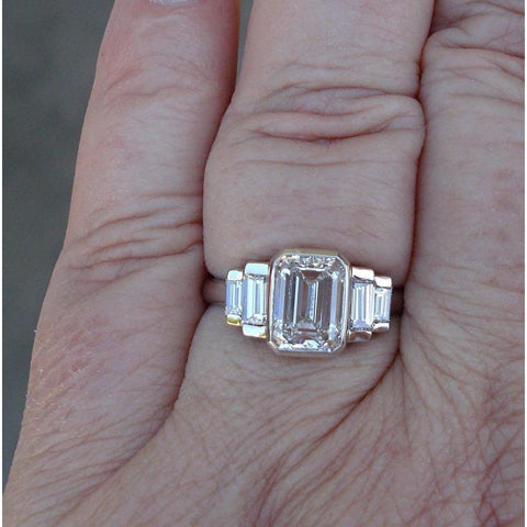 2.23 Ct Certified Emerald Cut Baguette Diamond Ring 14K White Gold By Luxinelle® Jewelry - Ring