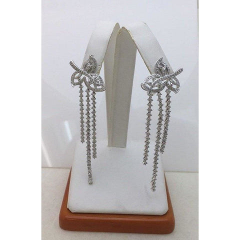 Image of 2.47 Ctw Diamond Waterfall Leaf Earrings 18K White Gold For Statement Formal Wedding Occasion By Luxinelle