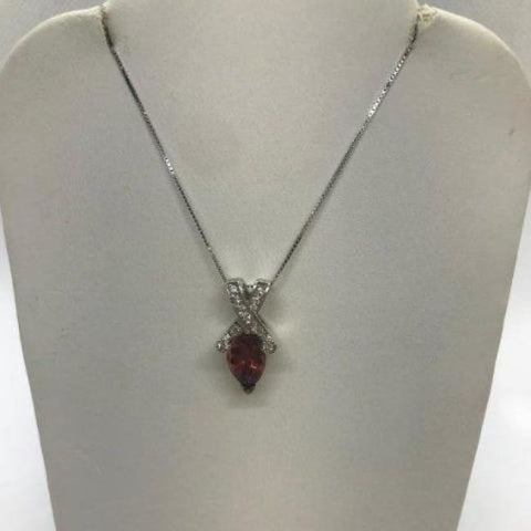 Image of 2 Carat Reddish Pink Pear Cut Tourmaline And Diamond Twist Pendant On A Chain Necklace - 14K White Gold By Luxinelle® Jewelry - Necklace