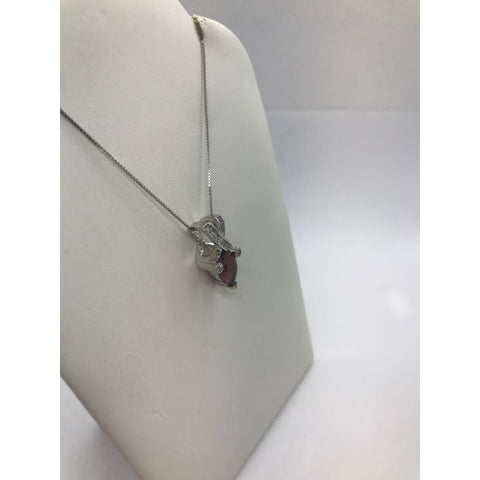 2 Carat Reddish Pink Pear Cut Tourmaline And Diamond Twist Pendant On A Chain Necklace - 14K White Gold By Luxinelle® Jewelry - Necklace