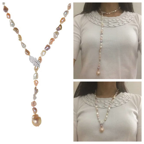 24 Inch Strand Of Natural Baroque Pearls (Adjustable Multi-Wear Lariat Style) Necklace By Luxinelle® Jewelry - Necklace