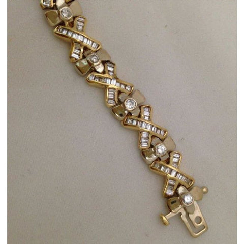 Image of 4.91 Carat Yellow Gold Diamond Bracelet - 14K Formal Occasion Statememt Tennis Bracelet By Luxinelle - Bracelet