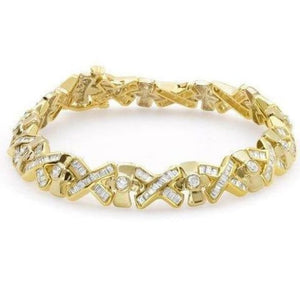 4.91 Carat Yellow Gold Diamond Bracelet - 14K Formal Occasion Statememt Tennis Bracelet By Luxinelle - Bracelet