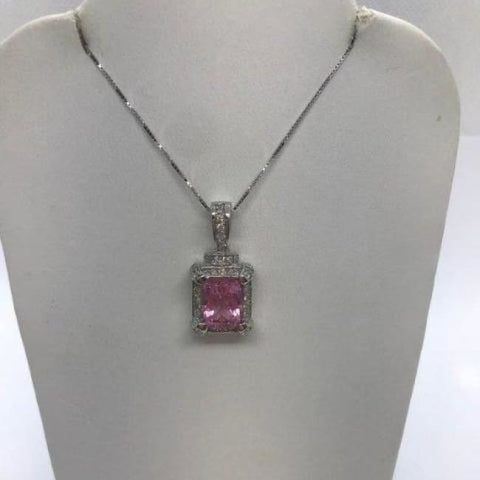 4.96 Carat Pink Tourmaline And Diamond Pendant On A Chain 14K White Gold Princess Cut By Luxinelle® Jewelry - Necklace