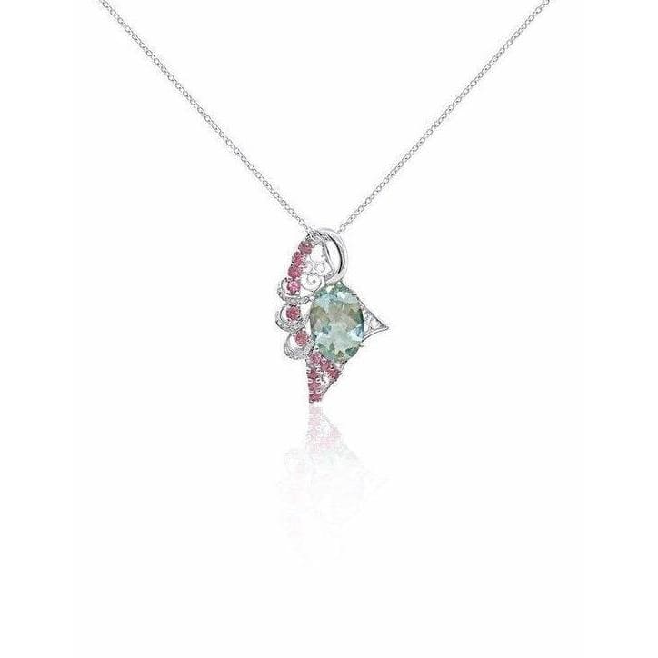 5.34 Ctw Aquamarine Pink Tourmaline And Diamond Pendant In 14K White Gold By Luxinelle® Jewelry - Necklace