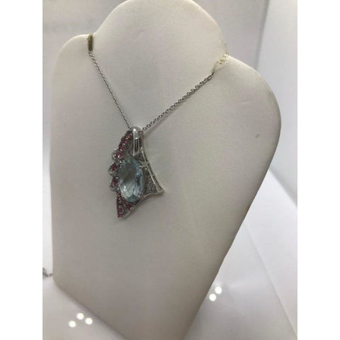 Image of 5.34 Ctw Aquamarine Pink Tourmaline And Diamond Pendant In 14K White Gold By Luxinelle® Jewelry - Necklace