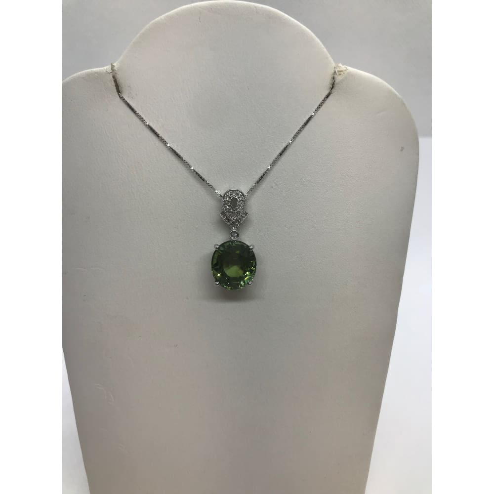 5.59 Carat Peridot Pendant With Diamond Bail On 14K White Gold By Luxinelle - Necklace