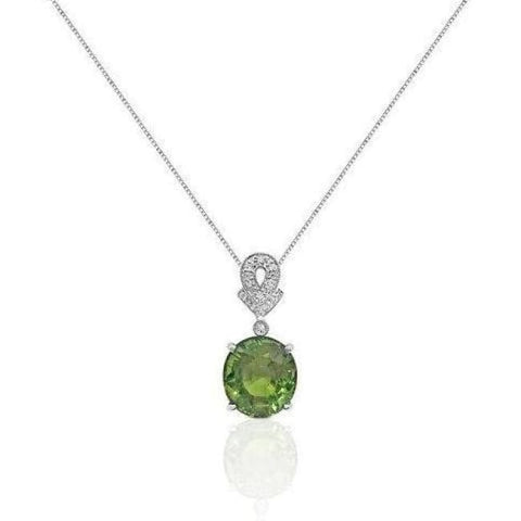 Image of 5.59 Carat Peridot Pendant With Diamond Bail On 14K White Gold By Luxinelle - Necklace
