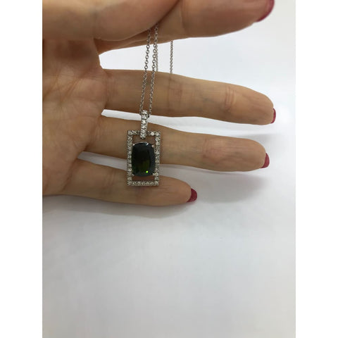 5.65 Ctw Green Tourmaline Diamond Rectangle Pendant 14K White Gold By Luxinelle - Necklace