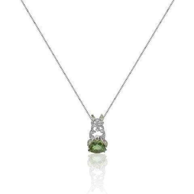 5 Ctw Trillion Cut Green Amethyst Pendant With Marquise And Round Diamonds With 14K White Gold By Luxinelle® Jewelry - Necklace