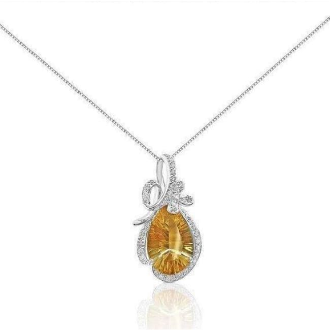 6 Carat Laser Cut Citrine And Diamond Pendant In 14K White Gold