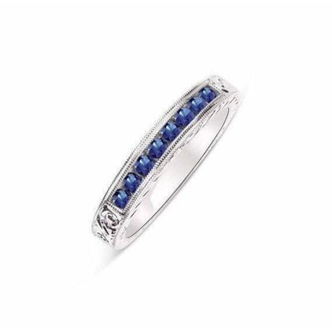 8 Blue Sapphire Band 100% Hand Engraved Solid 14K White Gold Ring With Channel Setting By Luxinelle® Jewelry - Ring