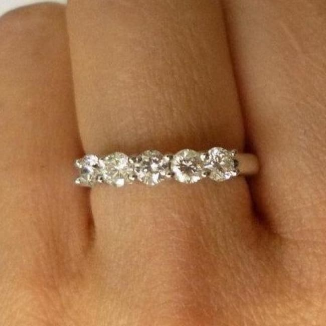 Amazing 5 Diamond Band - 14K White Gold Diamond Ring - 5 Year Anniversary Wedding Band By Luxinelle® Jewelry - Ring