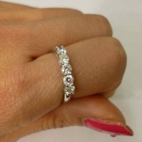 Image of Amazing 5 Diamond Band - 14K White Gold Diamond Ring - 5 Year Anniversary Wedding Band By Luxinelle® Jewelry - Ring