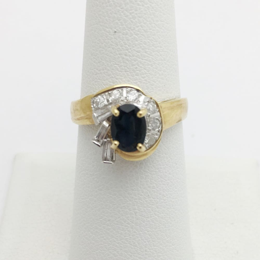 Blue Sapphire With Baguette And Round Diamonds Yellow Gold Ring By Luxinelle®Jewelry - Ring