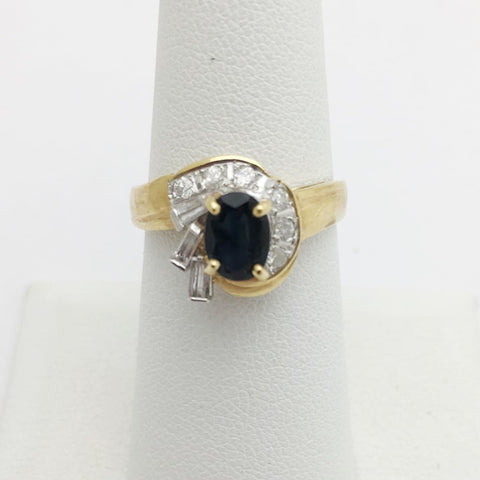 Image of Blue Sapphire With Baguette And Round Diamonds Yellow Gold Ring By Luxinelle®Jewelry - Ring