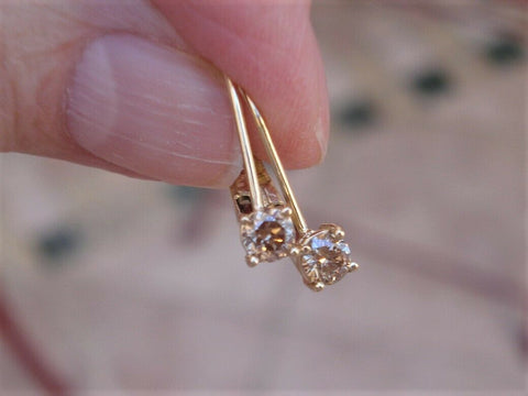 Eye Clean Light Brown Champagne Diamond Earrings 14k Yellow Gold 0.36cttw