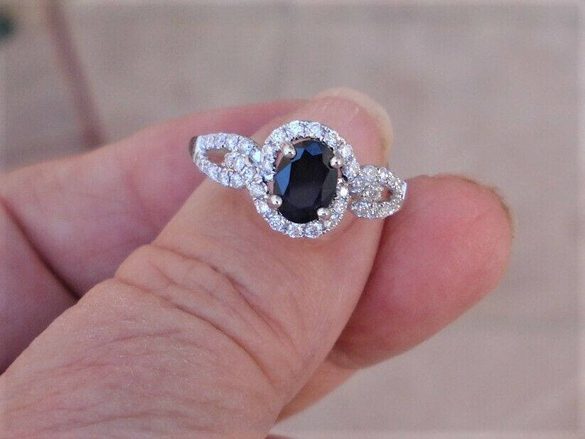 1 Carat Oval Cut Blue Sapphire Diamond Halo 14k White Gold Ring