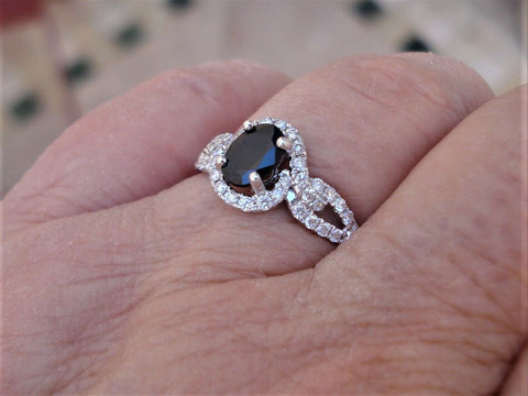 Image of 1 Carat Oval Cut Blue Sapphire Diamond Halo 14k White Gold Ring