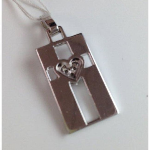 Diamond Heart On Cross Pendant - 14K White Gold