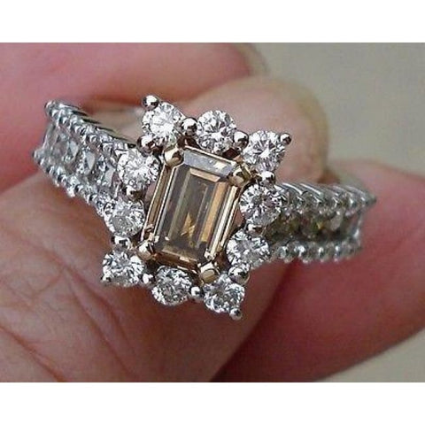 Image of Emerald Cut Diamond - Natural Brown Color Argyle Mine Halo Engagement Ring 14K By Luxinelle® Jewelry - Ring