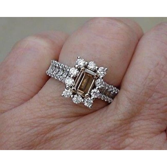Emerald Cut Diamond - Natural Brown Color Argyle Mine Halo Engagement Ring 14K By Luxinelle® Jewelry - Ring