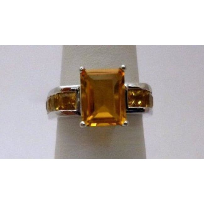 Emerald Cut Natural Citrine Ring - 14K White Gold With Orange Gemstone By Luxinelle® Jewelry - Ring