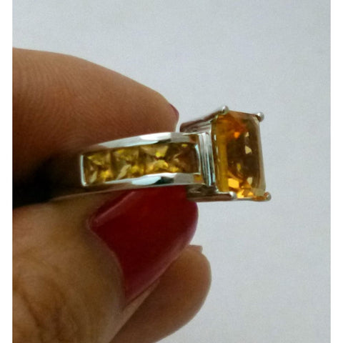 Image of Emerald Cut Natural Citrine Ring - 14K White Gold With Orange Gemstone By Luxinelle® Jewelry - Ring