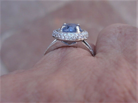 Image of Gia Certified 2 Plus Carat Sapphire Double Diamond Halo Ring 18k White Gold
