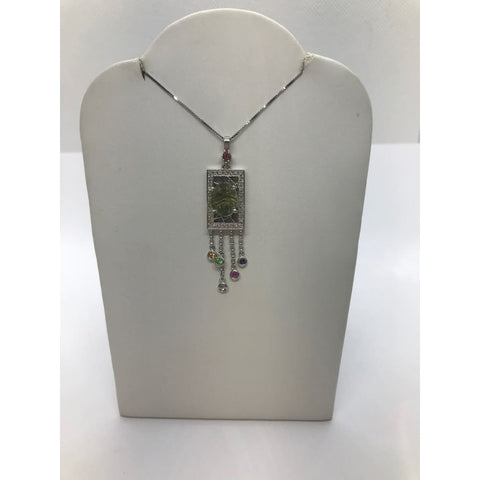 Image of Green Tourmaline And Diamond Necklace Multi Color White Gold Pendant On A Chain By Luxinelle