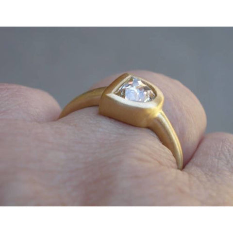 Image of Half Moon Letter D Initial Rose Cut Diamond In Custom 18K Bezel By Luxinelle® Jewelry - Ring