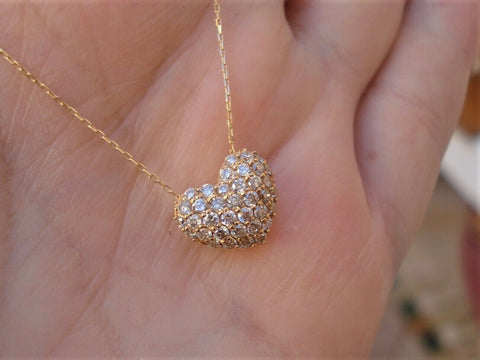 Image of 18k Yellow Gold Half Carat Heart Pendant