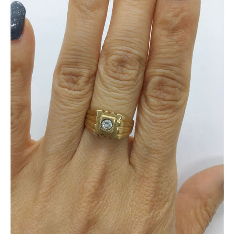 Image of Luxinelle 0.20 Carat Diamond Solitaire Statement Ring In 14K Yellow Gold By Luxinelle® Jewelry - Ring