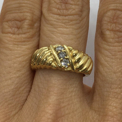 Image of Luxinelle 0.20 Ctw Diamond Statement Ring In 14K Yellow Gold By Luxinelle® Jewelry - Ring