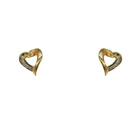 Luxinelle 0.25 Carat Heart Shaped Pave Setting 14K Yellow Gold Diamond Stud Earrings - Earrings