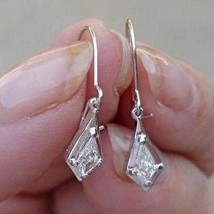 Luxinelle 0.26 Carat Unique Custom Cut Diamond Dangle Drop Earrings - 14K White Gold - One Of A Kind - Earrings