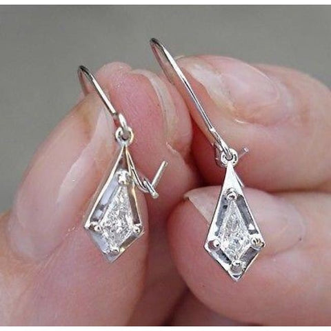 Image of Luxinelle 0.26 Carat Unique Custom Cut Diamond Dangle Drop Earrings - 14K White Gold - One Of A Kind - Earrings