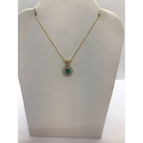 Image of Luxinelle 0.28 Carat Heart Emerald And Diamond Pendant 14K Yellow Gold Emerald Necklace - Necklace