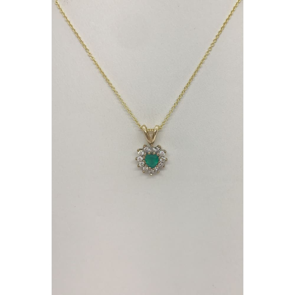Luxinelle 0.28 Carat Heart Emerald And Diamond Pendant 14K Yellow Gold Emerald Necklace - Necklace