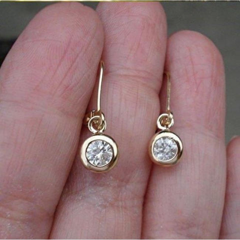 Image of Luxinelle 0.40 Carat Bezel Diamond Dangle Drop Earrings In 14K Yellow Or White Gold Leverback - Earrings