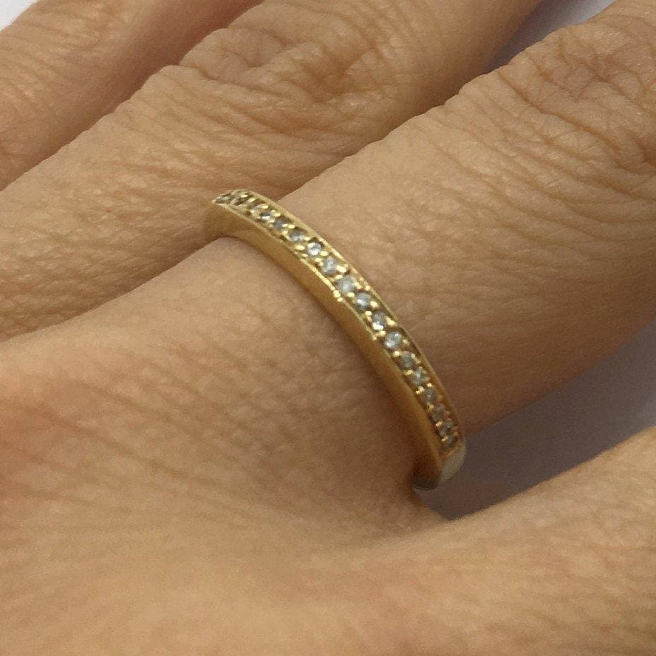 Luxinelle 0.40 Carat Diamond Band In 14K Yellow Gold Half Eternity Pave Setting By Luxinelle® Jewelry - Ring